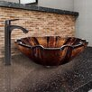 Vigo Shell Glass Vessel Bathroom Sink and Linus Faucet Set
