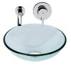 Vigo Sheer Sepia Glass Vessel Bathroom Sink and Olus Wall Mount Faucet Set