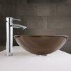 Vigo Sheer Sepia Glass Vessel Sink and Shadow Faucet Set