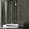 "Vigo 40"" W x 40"" D x 73.38"" H Pivot Door French Frameless Shower Enclosure"