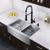 "Vigo Farmhouse 33"" x 22.25"" 16 Gauge Double Bowl Kitchen Sink and Edison Pull-Down Spray Kitchen Faucet (Set of 4)"