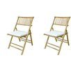 Buyers Choice Phat Tommy Foldable Bamboo Chair with Cushion (Set of 2)