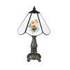 """Meyda Tiffany Floral 11.5"""" H Mini Table Lamp with Empire Shade"""