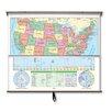 Universal Map Essential Wall Map Combo - U.S. / World
