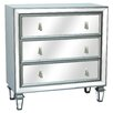 Crestview Collection Hollywood 3 Drawer Gunmetal and Mirrored Chest