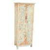 Crestview Collection Dawson Creek Weathered Oak and Cyan Tall 2 Door Cabinet