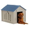 Suncast Deluxe Dog House in Taupe & Blue