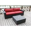 Bellini Home and Garden Pasadina Deep Seating Sofa with Cushions and Coffee Table