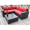 Bellini Home and Garden Pasadina Conversation Sectional 4 Piece Deep Seating Group with Cushions
