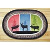 Earth Rugs Color Block Stags Printed Area Rug