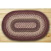 Earth Rugs Oval Braided Mulberry/Ivory Area Rug