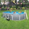 "Blue Wave Products Round 52"" Deep 7"" Top Rail Martinique Metal Wall Swimming Pool Package"