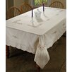 Violet Linen Blossom Embroidered Tablecloth