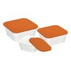 Danico Imperial 3 Piece Silicon Lid Porcelain Food Container Set