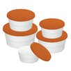 Danico Imperial 5 Piece Silicon Lid Porcelain Food Container Set