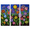 All My Walls 'Fun Whimsical Flowers' by Renie Britenbucher 3 Piece Graphic Art Plaque Set