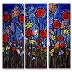 All My Walls 'Funky Flowers' by Renie Britenbucher 3 Piece Graphic Art Plaque Set