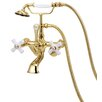 Elizabethan Classics Adjustable Volume Control Tub and Shower Faucet with Hand Shower and Porcelain Cross Handles