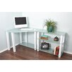 RTA Home And Office White Lines Computer Desk with Extension and 3 Shelves