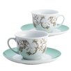 BonJour Fruitful Nectar Porcelain Printed Teacup and Saucer Set (Set of 2)