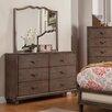 Alpine Furniture Charleston 6 Drawer Dresser with Mirror