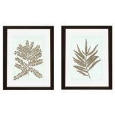2 Piece Leaves Silhoutte Framed Graphic Art Set