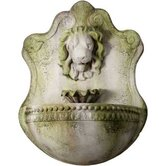 Fiber Stone Lion and Shell Wall Fountain