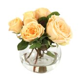 Waterlook Silk Roses & Buds in Rose Bowl