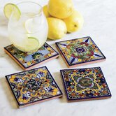 Moroccan Midnight Hand Painted Tile Coasters (Set of 4)