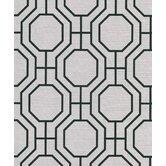 """Ink - Black & White 8"""" x 10"""" Karim Light Grey Moroccan Ironwork Wallpaper Sample Sample"""
