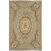 French Elegance Venetian Green/Beige Aubusson Floral Area Rug