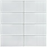 "Sierra 3"" x 6"" Glass Subway Tile in Ice White"
