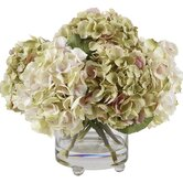 Lavender & Green Hydrangeas in Glass Vase