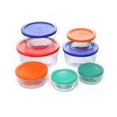 Storage Plus 14 Piece Food Container with Colored Lid Set