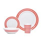 Race Stripe 16 Piece Dinnerware Set