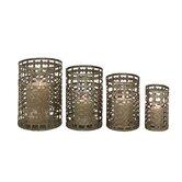 4 Piece Metal Candle Holder Set