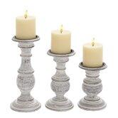 3 Piece Wooden Candlestick Set