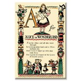 A for Alice in Wonderland by Tony Sarge Vintage Advertisement on Wrapped Canvas