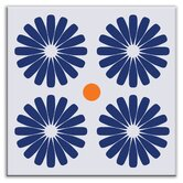 "Folksy Love 6"" x 6"" Satin Decorative Tile in Pinwheels Blue"