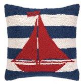 Nautical Hook Sailboat Stripe Throw Pillow