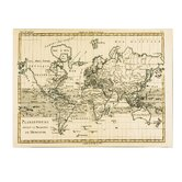 """""""Mercator Map of the World"""" by Charles Bonne Graphic Art on Canvas"""