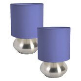 """Simple Designs Mini Touch 9.2"""" H Table Lamp with Drum Shade (Set of 2)"""