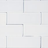 """3"""" x 8"""" Glass Subway Tile in Snow"""
