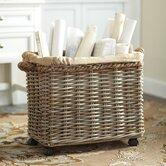 Wheeled Rattan Basket