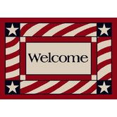 Summer Patriotic Welcome America Door Mat