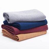 Herringbone Organic Wool Throw Blanket