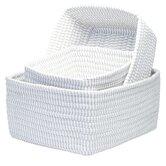 Ticking Stripe 3 Piece Nesting Basket Set