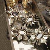 Golden Treasures Silver Leaf Flower Design Ornament (Set of 8)