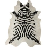 Hides Zebra Print Cowhide Black & White Area Rug