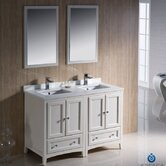 """Oxford 48"""" Double Traditional Bathroom Vanity Set with Mirror"""